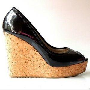 JIMMY CHOO Black Patent Cork Wedge open toe